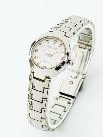 Srebrno-złoty elegancki zegarek na bransolecie