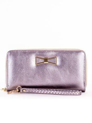 Srebrny długi portfel na zamek z ozdobną kokardką