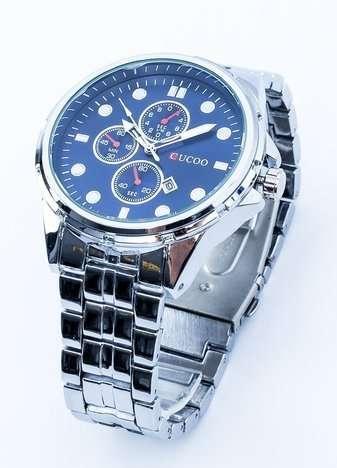 Srebrny męski zegarek z granatową tarczą