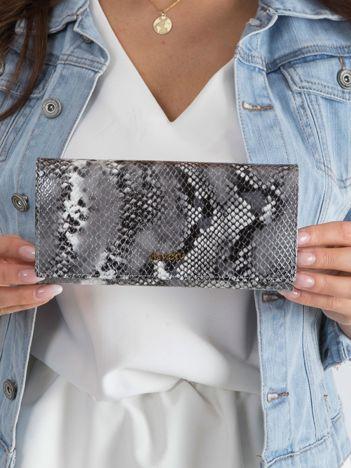 Srebrny skórzany portfel snake skin