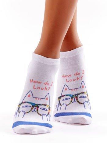 Stopki damskie z komiksowym kotem