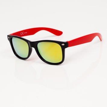 Stylowe Czerwone okulary przeciwsłoneczne dziecięce z klasyczną oprawką typu WAYFARER NERD LUSTRZANKI