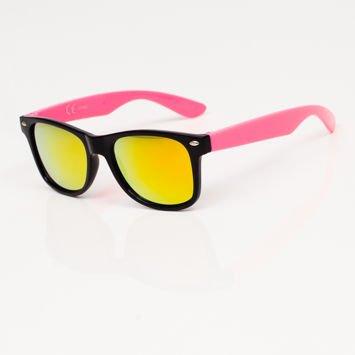 Stylowe Różowe okulary przeciwsłoneczne dziecięce z klasyczną oprawką typu WAYFARER NERD LUSTRZANKI