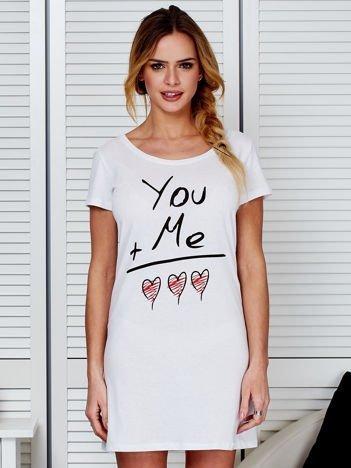 Sukienka biała bawełniana z miłosnym nadrukiem