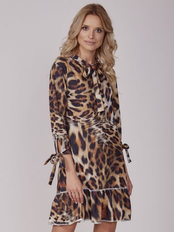 Sukienka brązowa z wiązaniami i falbaną animal print