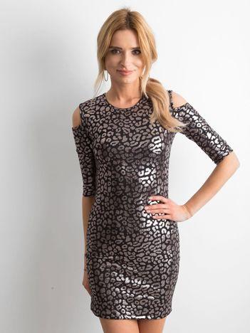 Sukienka cold arms ze srebrnym printem