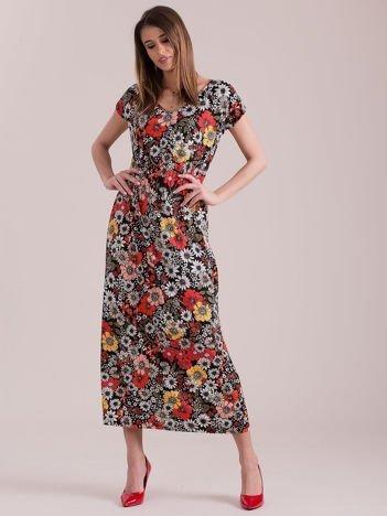 Sukienka czarna maxi w kwiaty