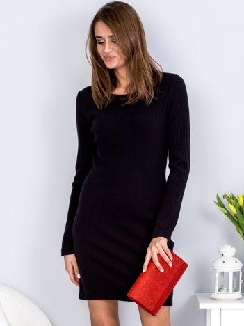 Sukienka czarna w prążek z wycięciem z tyłu