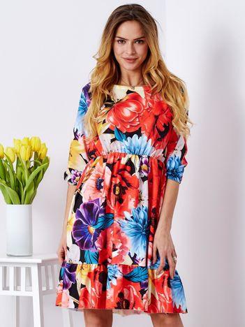 29930ffc83 Sukienka czarna z gumką w pasie w kwiaty