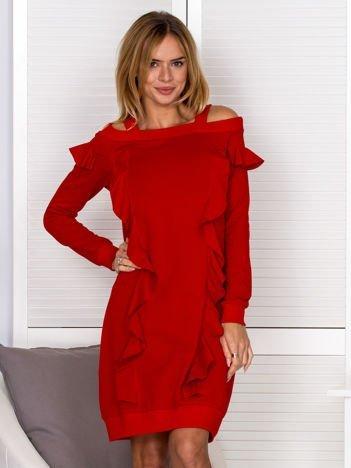 Sukienka damska cut out z falbanami czerwona