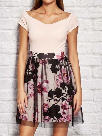 Sukienka damska koktajlowa z motywem kwiatowym i tiulem różowa