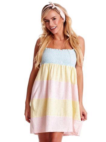 Sukienka damska na cienkich ramiączkach w kolorowe moduły