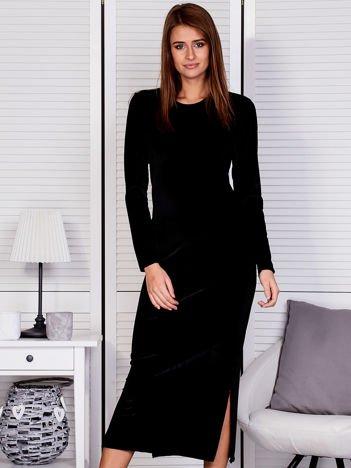 Sukienka damska welurowa maxi czarna