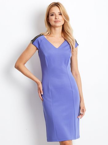 Sukienka damska z łańcuszkami na ramionach jasnoniebieska