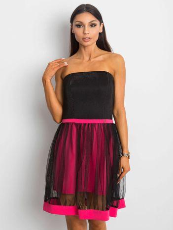 Sukienka damska z tiulową spódnicą różowa