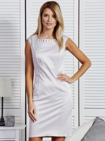 Sukienka damska z zakładkami przy dekolcie szara PLUS SIZE