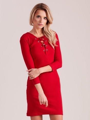 Sukienka dopasowana lace up czerwona