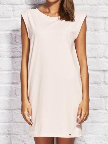 Sukienka dresowa z ozdobnymi paseczkami jasnoróżowa