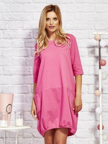 Sukienka dresowa z troczkami na dole różowa
