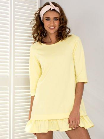 Sukienka dresowa żółta z falbaną