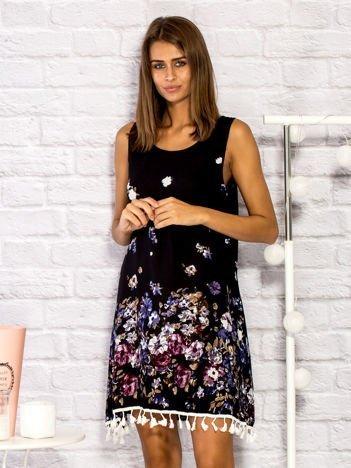 Sukienka dzienna w kwiaty z frędzlami czarna