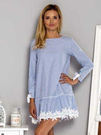 Sukienka dzienna w paski z koronką niebieska