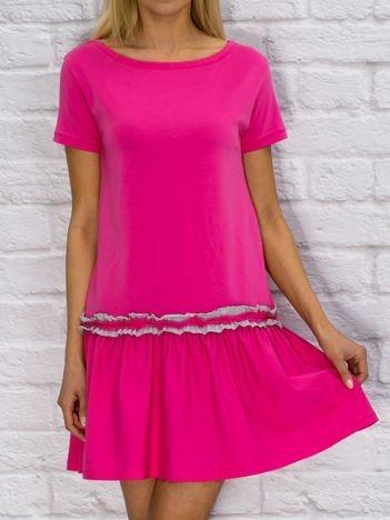 Sukienka dzienna z obniżonym stanem różowa