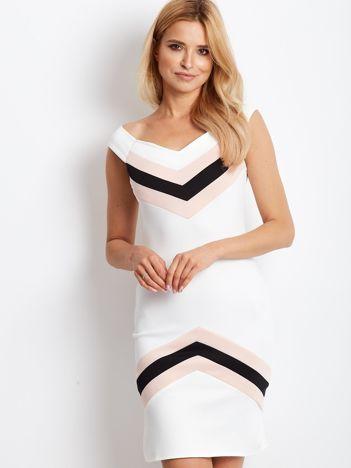 Sukienka ecru z graficznymi wstawkami