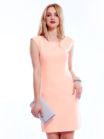 Sukienka fluo pomarańczowa z wiązaniem z tyłu