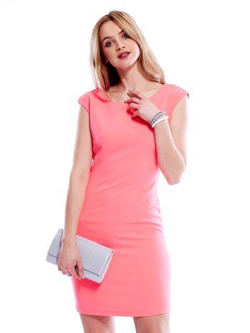 Sukienka fluo różowa z wiązaniem z tyłu