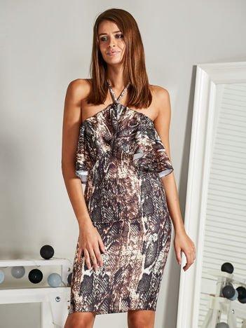 Sukienka hiszpanka w wężowy wzór z falbanką brązowa