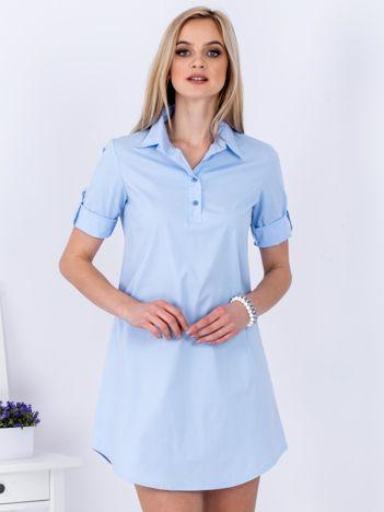 Sukienka jasnoniebieska z kołnierzykiem