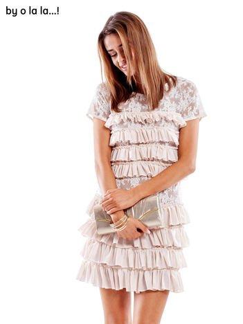 Sukienka jasnoróżowa z falbanami BY O LA LA