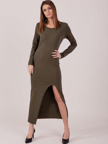 Sukienka khaki maxi z rozcięciem