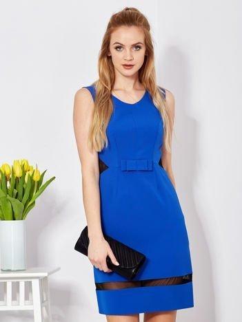 Sukienka kobaltowa z transparentnymi wstawkami