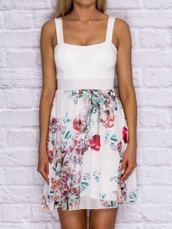 Sukienka koktajlowa z kwiatową spódnicą ecru