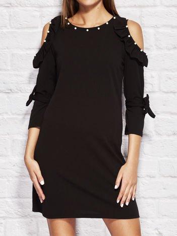 Sukienka koktajlowa z perełkami czarna
