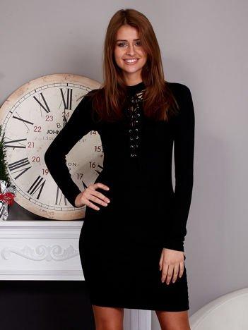 Sukienka lace up z fakturą w paski czarna