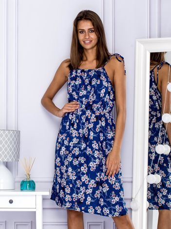 Sukienka letnia w drobne kwiatki niebieska