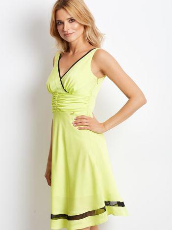 Sukienka limonkowa V-neck z siatkowym wykończeniem