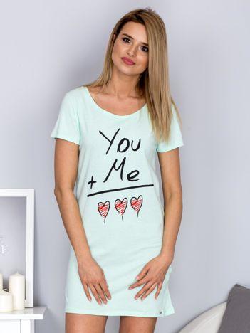 Sukienka miętowa bawełniana z miłosnym nadrukiem