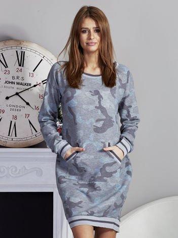 Sukienka moro z kieszeniami szaro-niebieska