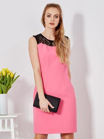 Sukienka różowa z koronkową górą