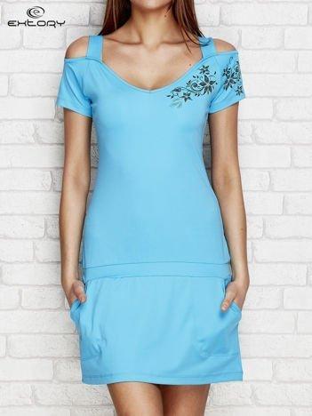 Sukienka sportowa z kwiatowym nadrukiem turkusowa