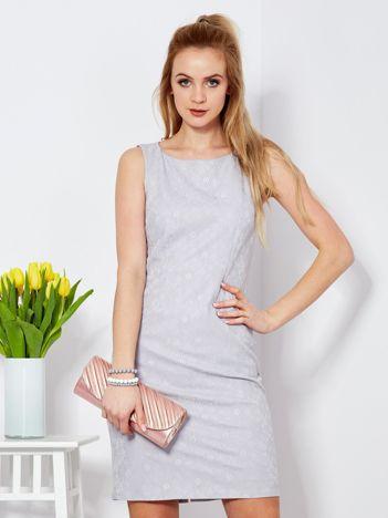 Sukienka szara z wycięciem z tyłu