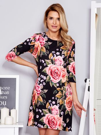 Sukienka we wzór róż czarna