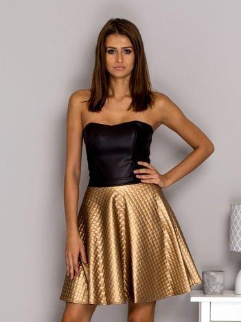 Sukienka wieczorowa z pikowana spódnicą złota