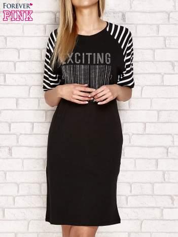 Sukienka z aplikacją z dżetów czarna