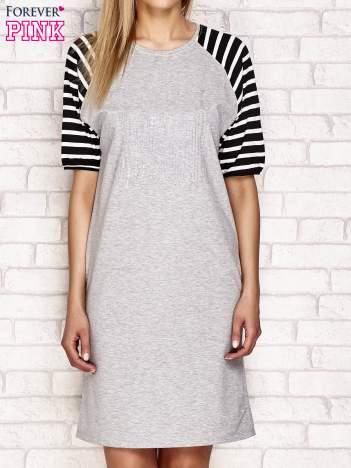 Sukienka z aplikacją z dżetów jasnoszara
