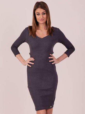 Sukienka z bocznymi wycięciami ciemnoszara